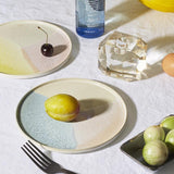 round side plates in pastel colors