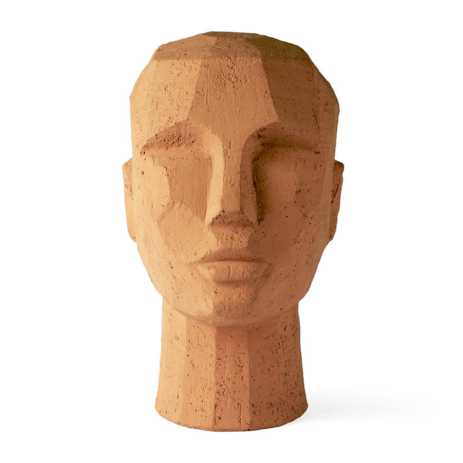 abstract head sculpture in terracotta