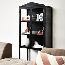 black showcase cabinet mka1938 with glass doors and crest