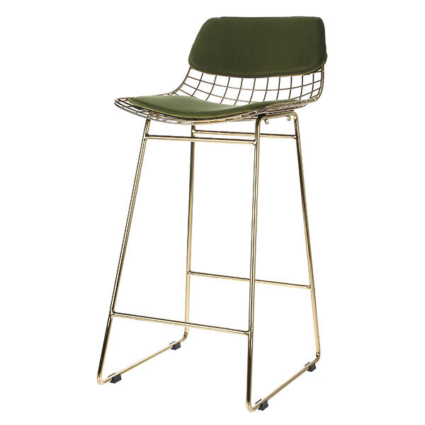 Wire bar stool comfort kit - velvet green