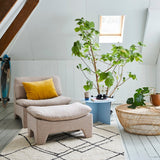 Nordic style living room with a mixture of materials like wool, cotton rattan and wood and soft pastel colors