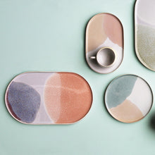 oval shaped plate in pastel colors