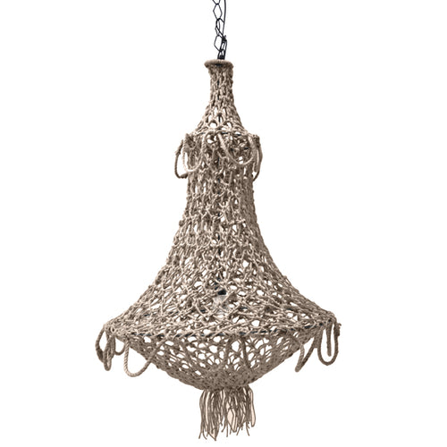 hand knotted chandelier with natural rope and chain