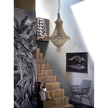 hand knotted natural rope bohemian chandelier in entree hall way