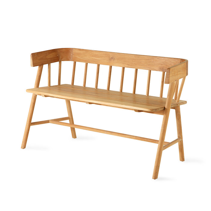 modern farmhouse style teak wooden bench natural