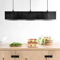 rectangle shaped chandelier made from black acrylic glass with 3 fittings and black cords