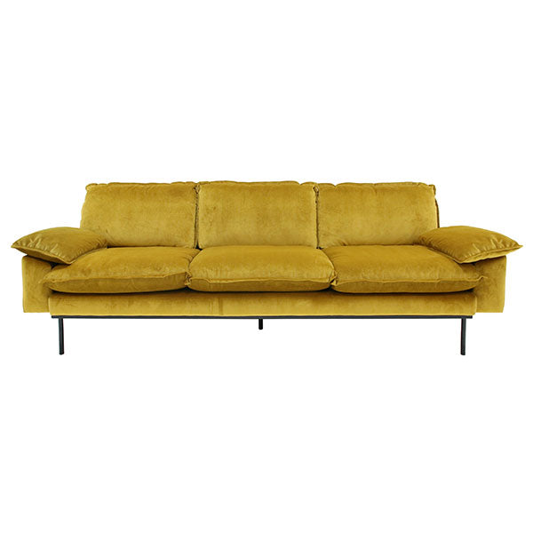 velvet sofa in gold ocher color