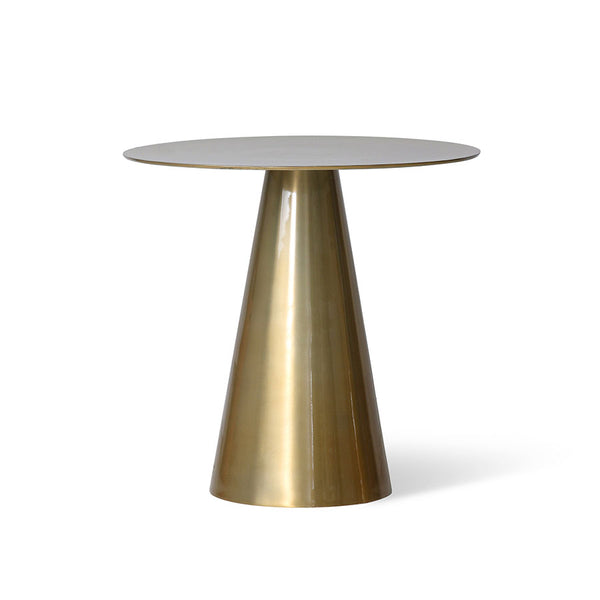 end table with cone shaped leg, round table top and brass color finish