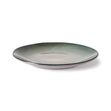 organically shaped ceramic plate in grey-ish green