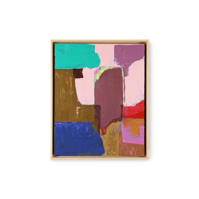 framed abstract painting with blue, green, pink, blush and brown