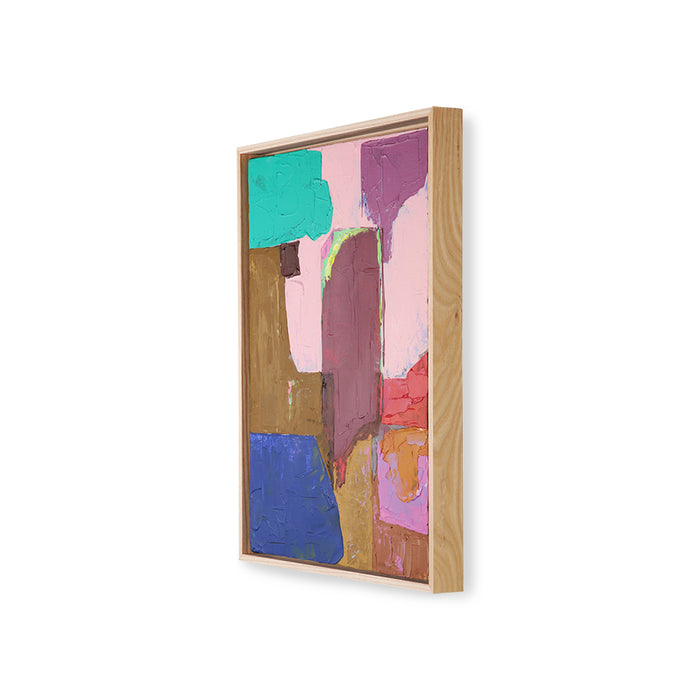 abstract painting with bold colors and an ash wooden shadow box frame