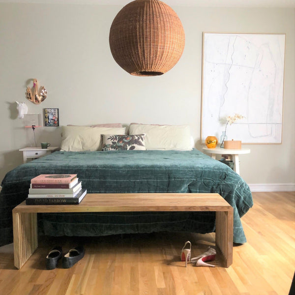 king size bed with teak wood bench as bedbench