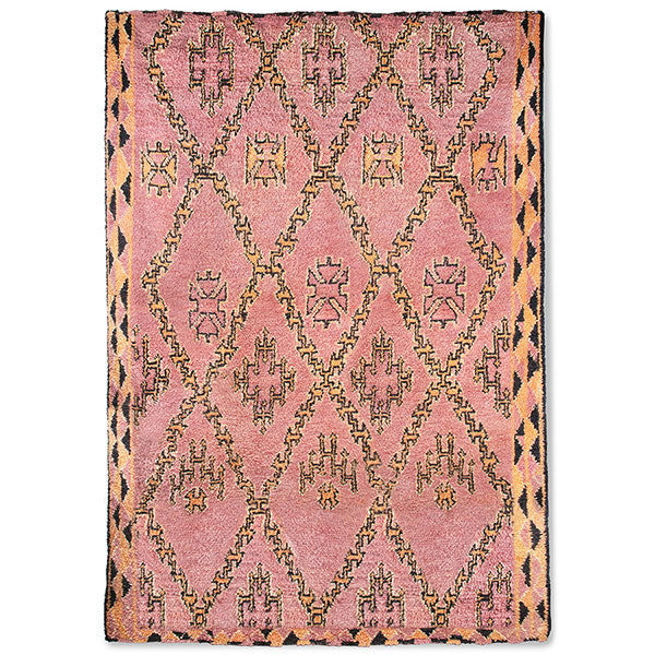 pink and orange colored hand knotted berber rug