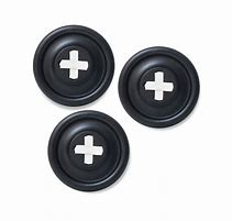 3 button black button hooks with white stitch