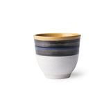 ceramic mug with a blue stripe