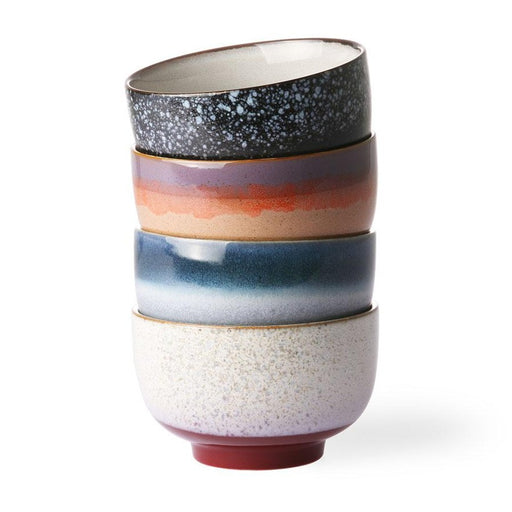 stack of 4 bowls with different colors in modern retro design
