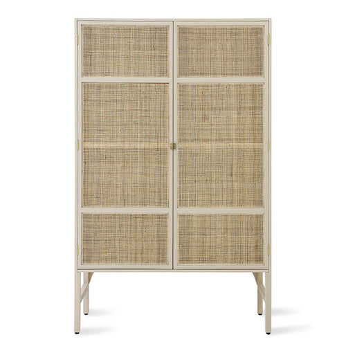 sand colored cabinet with cane webbing doors