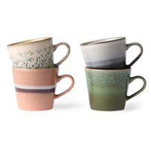 set of 4 cappuccino mugs with retro design and 70's colors