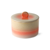 ceramic cookie jar made in 70's design with orange lid