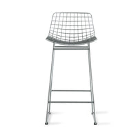 mid century modern bar stool in silver metal