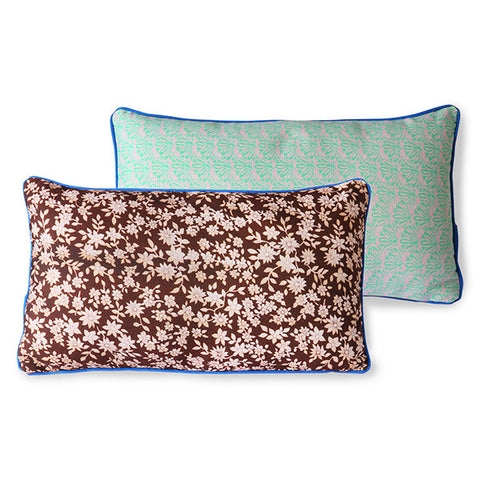 duo colored pillow with brown and green vintage floral look and blue trim