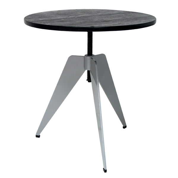 adjustable table with black table top and industrial look
