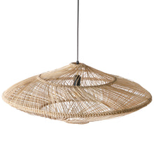 ufo shaped oval wicker hanging light