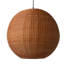 round hanging pendant ball light made of brown bamboo