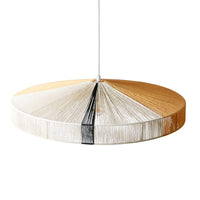 natural, white and black colored hand knotted rope pendant light fixture