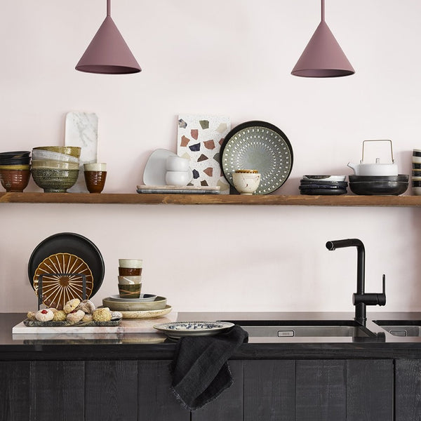 open shelving filled with home chef ceramics