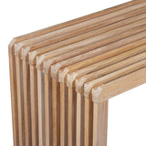 corner of teak wood slatted bench