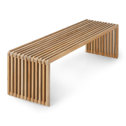 slatted bench made of teak wood