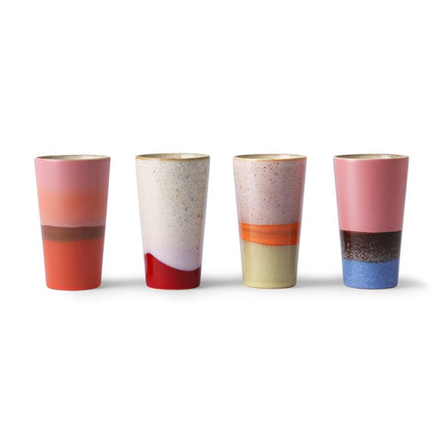 bright colored funky 70's latte mugs