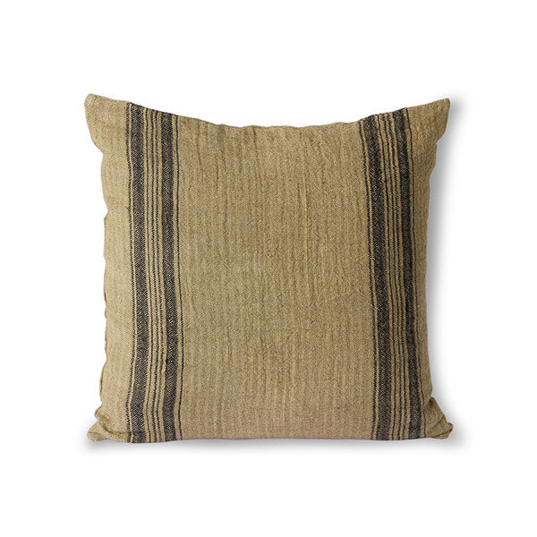 linen pillow in a dark beige color with charcoal stripes and texture