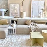white slatted bench used as  element in sofa