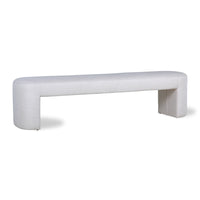 museum bench with rounded corners and a white/natural upholstered fabric