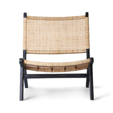 black teak wood and natural cane webbing lounge chair
