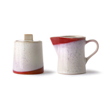 sugar pot and milk jug with red accent