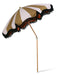 classic beach umbrella with stripes and fringes