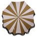 top view of beach umbrella with blush and brown stripe pattern and black tassles
