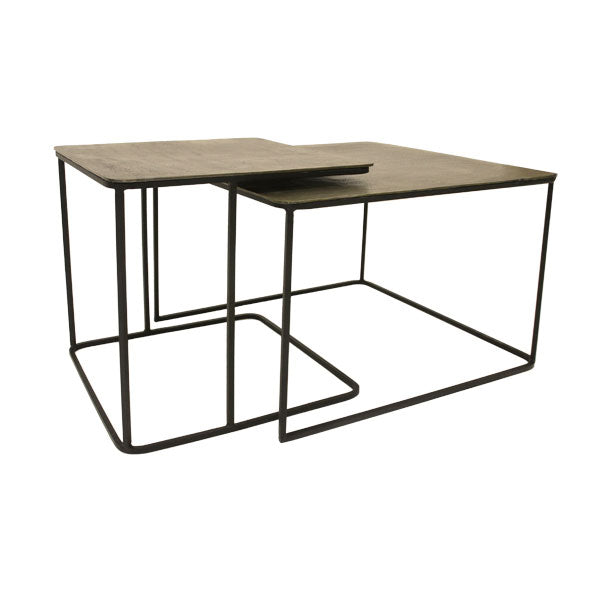 set of nesting coffee tables black metal and brass table top