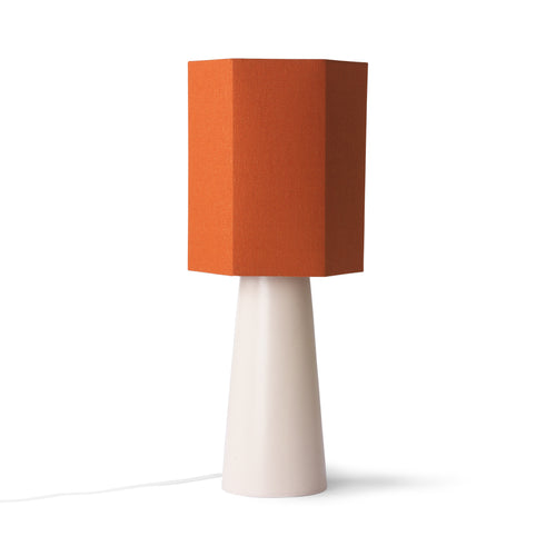 table lamp with hexagonal orange shade