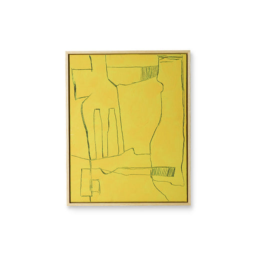 yellow brutalism painting in ash wooden block frame