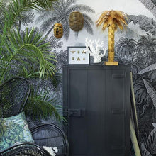 hk living usa black rattan egg chair and wooden one door cabinet with brass palm tree lamp