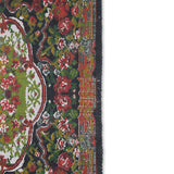 detail of printed rug with rose pattern and black trim