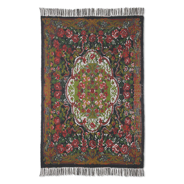 printed rug with rose pattern