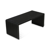 mid century modern black wooden slatted bench