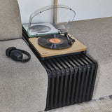 slatted element bench in black with a retro style record player