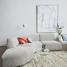 modern living room with large white brutalism canvas on wall