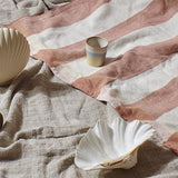 natural linen striped beach blanket